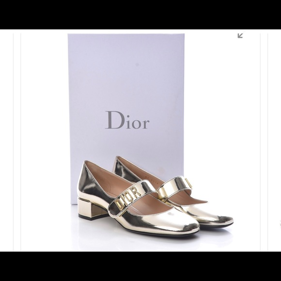 Dior baby D heeled mary janes mirror gold 40.5